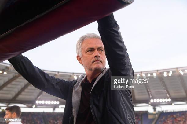 Roma coach Josè Mourinho before the Serie A match between AS Roma and SSC Napoli at Stadio Olimpico on October 24, 2021 in Rome, Italy.