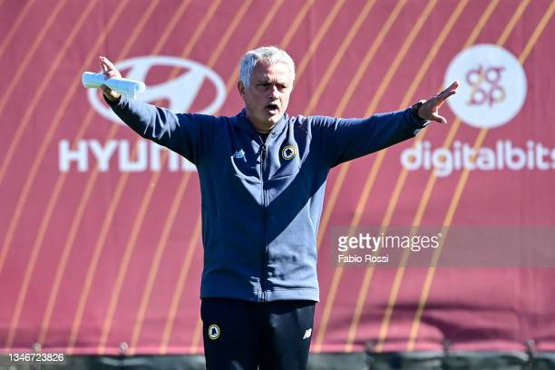 Roma coach Josè Mourinho during a training session at Centro Sportivo Fulvio Bernardini on October 15, 2021 in Rome, Italy.