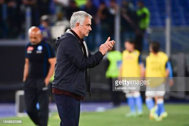 Roma coach Josè Mourinho during the Serie A match between AS Roma and SSC Napoli at Stadio Olimpico on October 24, 2021 in Rome, Italy.