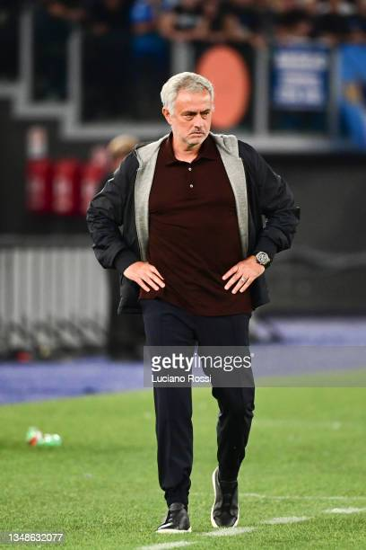 Roma coach Josè Mourinho looks on during the Serie A match between AS Roma and SSC Napoli at Stadio Olimpico on October 24, 2021 in Rome, Italy.