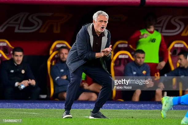 Roma coach Josè Mourinho reacts during the Serie A match between AS Roma and SSC Napoli at Stadio Olimpico on October 24, 2021 in Rome, Italy.