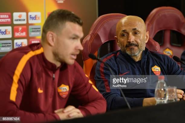 AS Roma coach Luciano Spalletti and Edin Dzeko attend a press conference at Centro Sportivo Fulvio Bernardini on March 15 2017 in Rome Italy