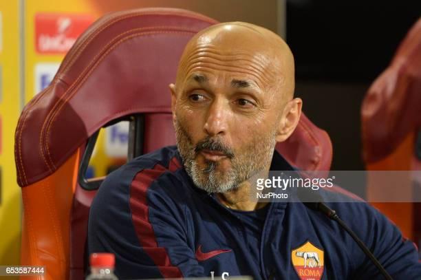 AS Roma coach Luciano Spalletti attends a press conference at Centro Sportivo Fulvio Bernardini on March 15 2017 in Rome Italy