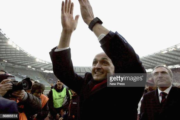 Roma coach Luciano Spalletti celebrates after the Serie A match between AS Roma and Empoli at the Stadio Olimpico on February 19 2005 in Rome Italy