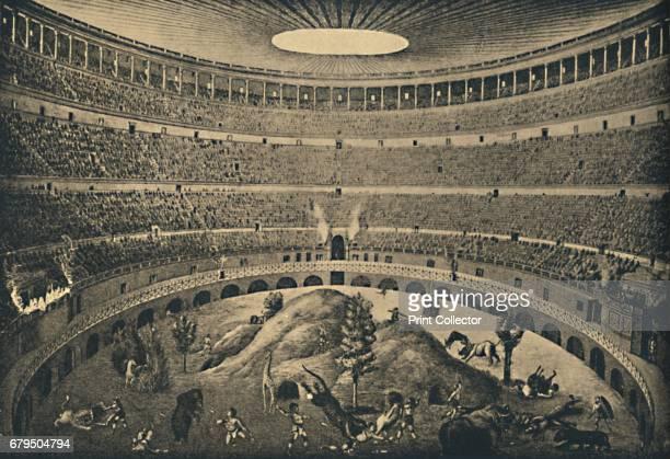 Roma Colosseum Reconstruction of a hunt of wild animals' 1910 From Cento Vedute Classiche di Roma [Enrico Verdesi Rome 1910] Artist Unknown