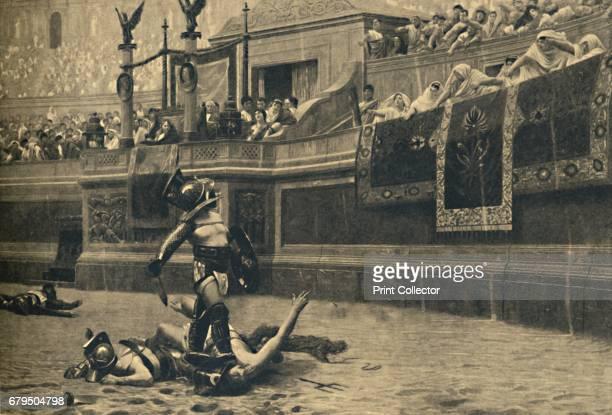 Roma Colosseum Thumbs down in a gladiatorial fight' 1910 From Cento Vedute Classiche di Roma [Enrico Verdesi Rome 1910] Artist Unknown