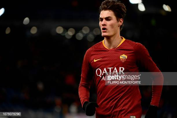 AS Roma Czech forward Patrik Schick reacts after scoring 20 during the Italian Serie A football match AS Roma vs Sassuolo on December 26 2018 at the...