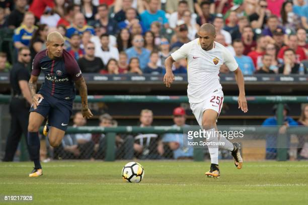 Roma D Bruno Peres in action during the International Champions Cup match between AS Roma and Paris SaintGermain on July 19 2017 at Comerica Park in...