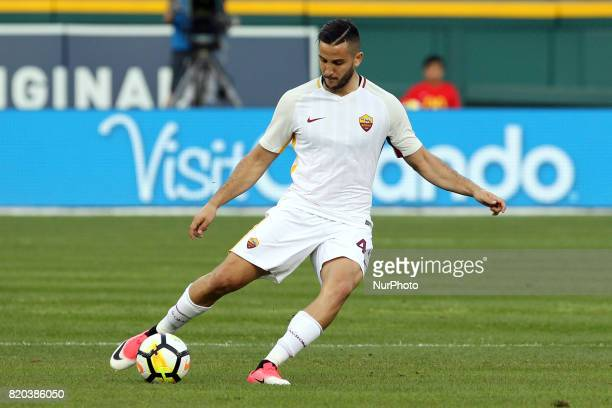Roma defender Kostas Manolas passes during an International Champions Cup match between AS Roma and Paris SaintGermain FC at Comerica Park in Detroit...