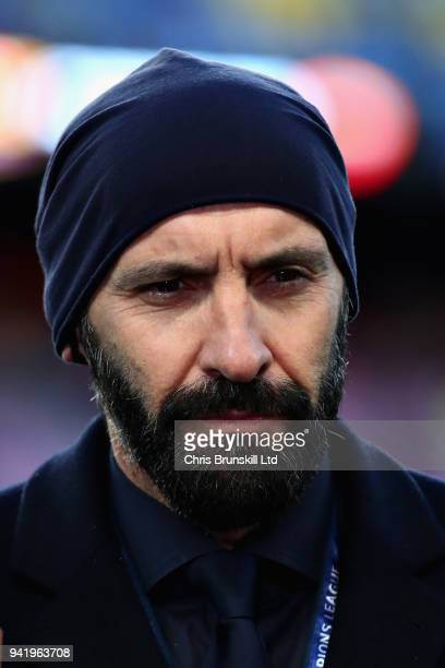 Roma Director of Football Monchi talks to the media before the UEFA Champions League Quarter Final first leg match between FC Barcelona and AS Roma...