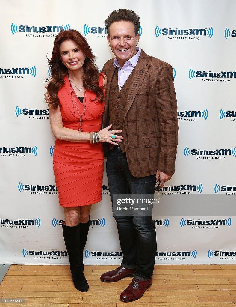 Roma Downey (L) and Mark Burnett visit at SiriusXM Studios on February 26, 2013 in New York City.