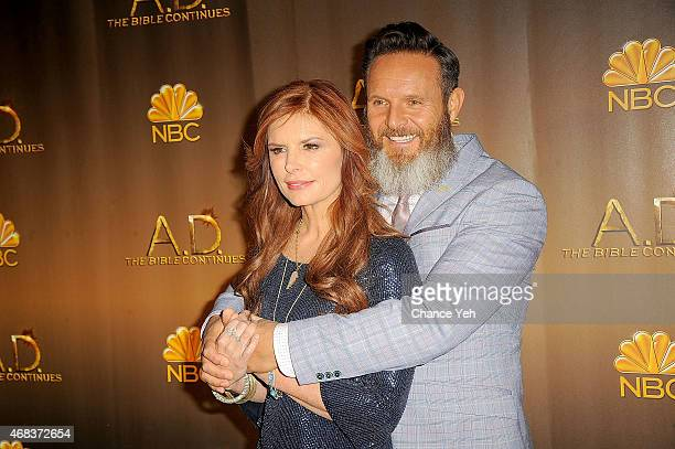 Roma Downey and MarkBurnett attend 'AD The Bible Continues' New York Premiere Reception at The Highline Hotel on March 31 2015 in New York City