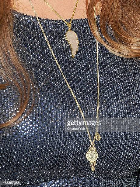 Roma Downey jewelry detail attends 'AD The Bible Continues' New York Premiere Reception at The Highline Hotel on March 31 2015 in New York City