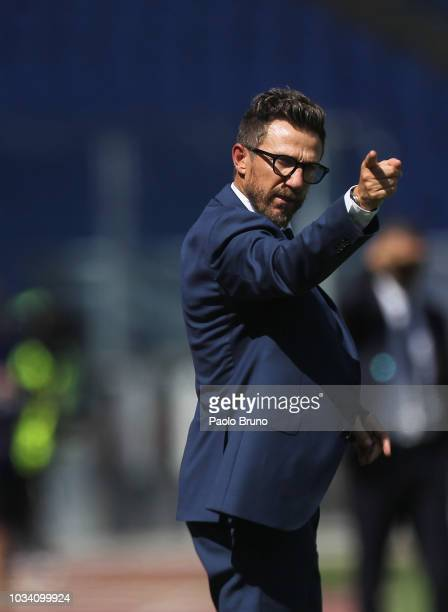 Roma Eusebio Di Francesco gestures during the serie A match between AS Roma and Chievo Verona at Stadio Olimpico on September 16 2018 in Rome Italy