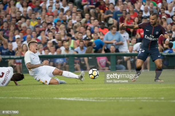 Roma F Juan Iturbe extends to make a play during the International Champions Cup match between AS Roma and Paris SaintGermain on July 19 2017 at...