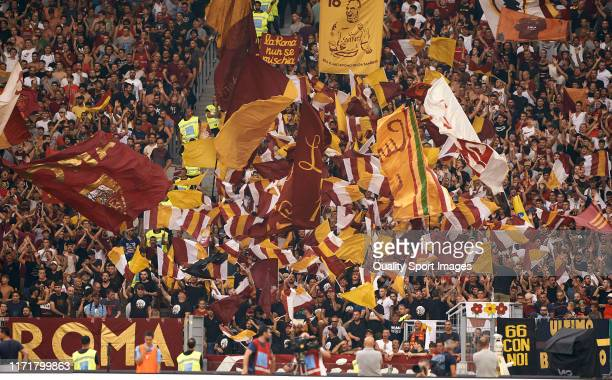 Roma fans cheer prior to the Serie A match between SS Lazio and AS Roma at Stadio Olimpico on September 01 2019 in Rome Italy
