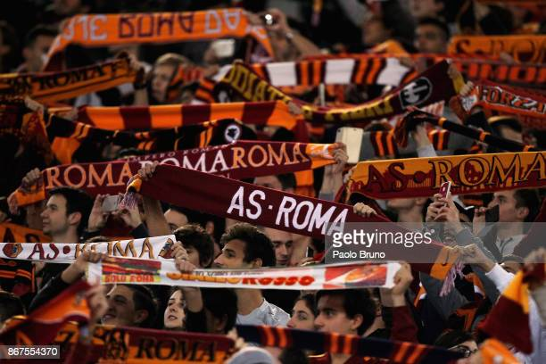 Roma fans during the Serie A match between AS Roma and Bologna FC at Stadio Olimpico on October 28 2017 in Rome Italy