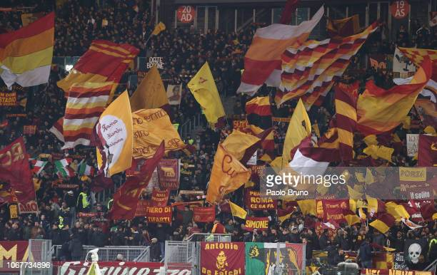 Roma fans during the Serie A match between AS Roma and FC Internazionale at Stadio Olimpico on December 2 2018 in Rome Italy