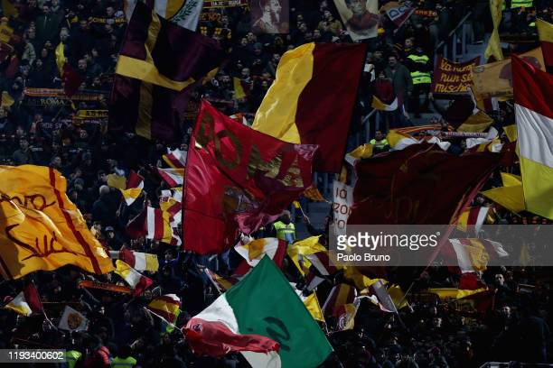 Roma fans during the Serie A match between AS Roma and Juventus at Stadio Olimpico on January 12 2020 in Rome Italy