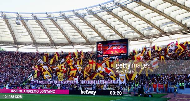 Roma fans during the Serie A match between AS Roma and SS Lazio at Stadio Olimpico on September 29 2018 in Rome Italy