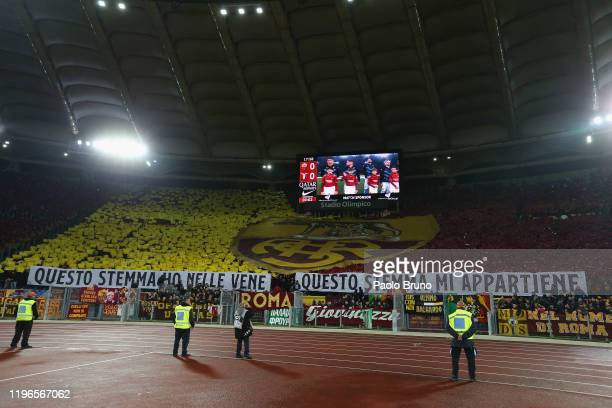Roma fans during the Serie A match between AS Roma and SS Lazio at Stadio Olimpico on January 26, 2020 in Rome, Italy.