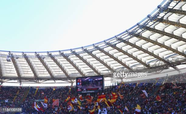 Roma fans during the Serie A match between AS Roma and SSC Napoli at Stadio Olimpico on March 31, 2019 in Rome, Italy.