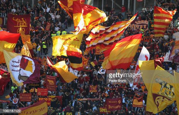 Roma fans during the Serie A match between AS Roma and UC Sampdoria at Stadio Olimpico on November 11 2018 in Rome Italy