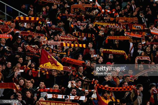 Roma fans during the Serie A match between AS Roma and US Lecce at Stadio Olimpico on February 23, 2020 in Rome, Italy.