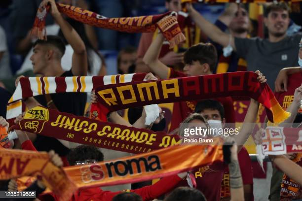 Roma fans during the Serie A match between AS Roma and US Sassuolo at Stadio Olimpico on September 12, 2021 in Rome, Italy
