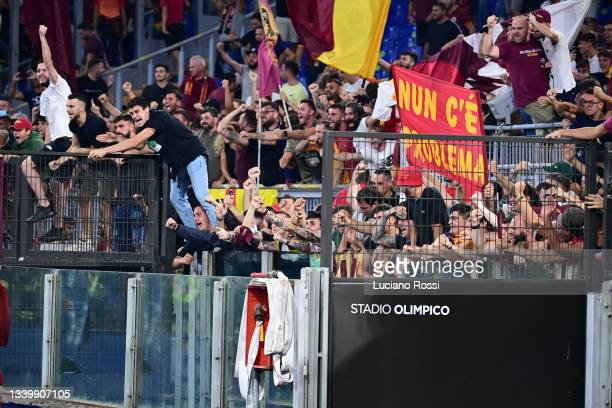 Roma fans during the Serie A match between AS Roma and US Sassuolo at Stadio Olimpico on September 12, 2021 in Rome, Italy.