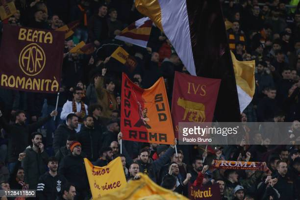 Roma fans during the Serie A match between SS Lazio and AS Roma at Stadio Olimpico on March 2 2019 in Rome Italy