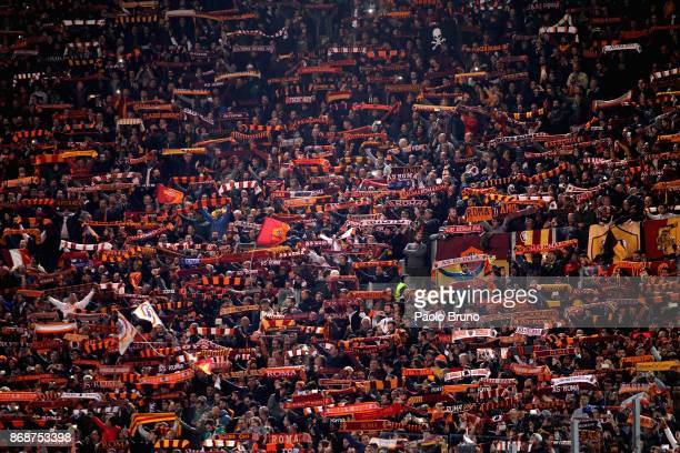 Roma fans during the UEFA Champions League group C match between AS Roma and Chelsea FC at Stadio Olimpico on October 31 2017 in Rome Italy