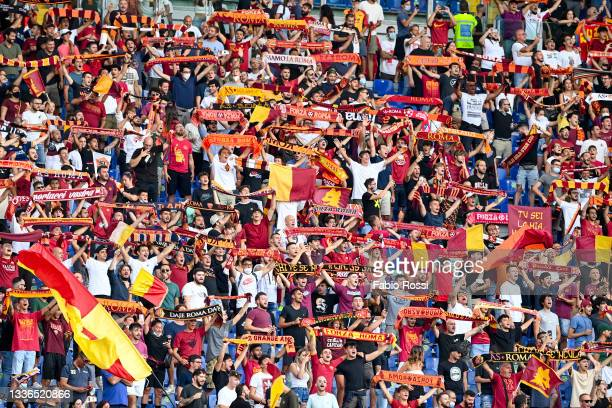 Roma fans during the UEFA Conference League Play-Offs Leg Two match between AS Roma and Trabzonspor at Olimpico Stadium on August 26, 2021 in Rome,...
