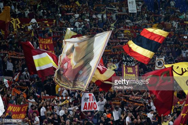 Roma fans during the UEFA Europa Conference League group C match between AS Roma and CSKA Sofia at Stadio Olimpico on September 16, 2021 in Rome,...