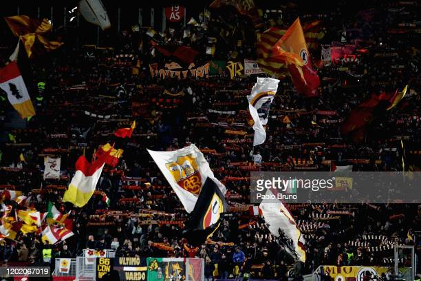 Roma fans during the UEFA Europa League Round of 32 first leg match between AS Roma and KAA Gent at Stadio Olimpico on February 20, 2020 in Rome,...