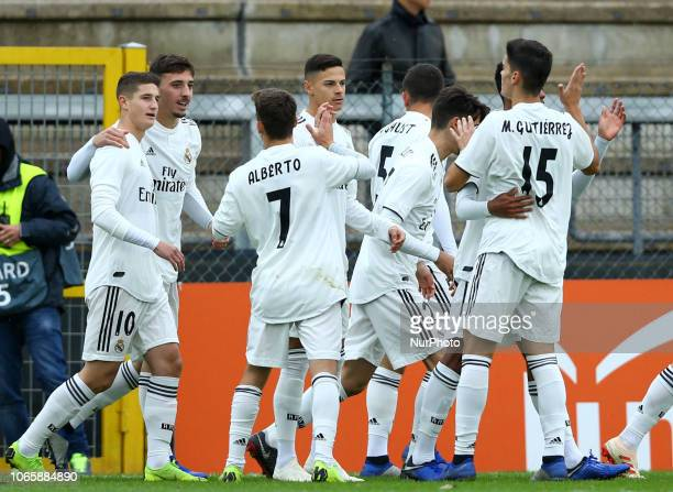 UEFA Youth League Group G Real Madrid celebrates after the goal of 01 at Tre Fontane Stadium in Rome Italy on November 27 2018