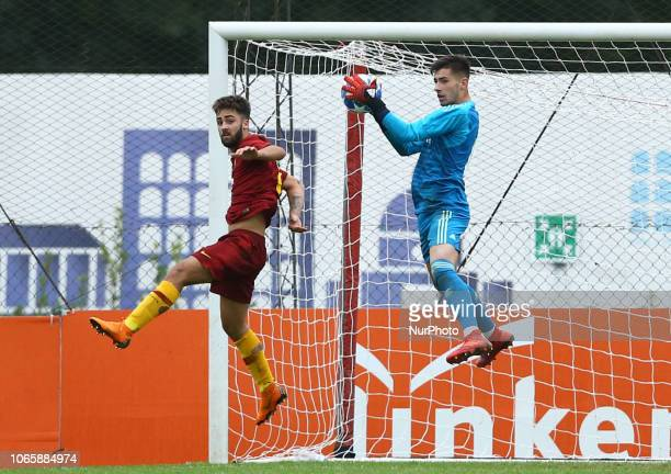 UEFA Youth League Group G Salvatore Pezzella of Roma and Diego Altube of Real Madrid at Tre Fontane Stadium in Rome Italy on November 27 2018