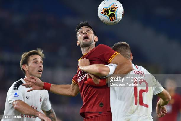 Roma football player Javier Pastore and Milan football player Andrea Conti during the match RomaMilan in the Olimpic stadium Rome October 28th 2019