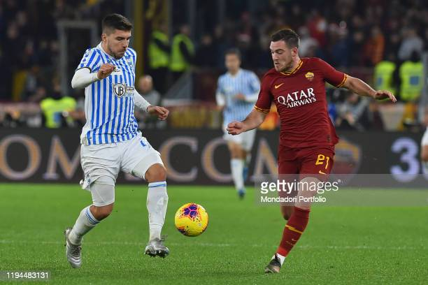 Roma football player Jordan Veretout and Spal football player Alberto Paloschi during the match Roma-Spal in the Olimpic stadium. Rome , December...