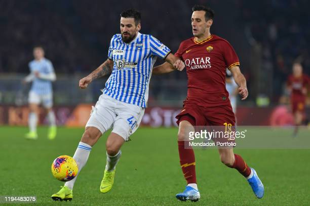Roma football player Nikola Kalinic and Spal football player Nenad Tomovic during the match Roma-Spal in the Olimpic stadium. Rome , December 15th,...