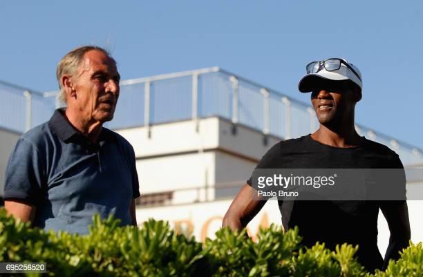 AS Roma former head coach Zdenek Zeman and former player Aldair attend the Italy U21 training session at Fulvio Bernardini sport center on June 12...