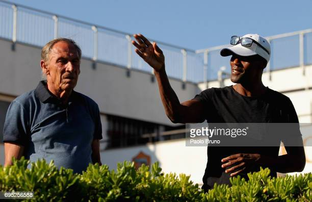 AS Roma former head coach Zdenek Zeman and former player Aldair attend the Italy U21 training session at Fulvio Bernardini sport center on June 12...