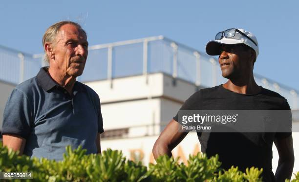 Roma former head coach Zdenek Zeman and former player Aldair attend the Italy U21 training session at Fulvio Bernardini sport center on June 12 2017...