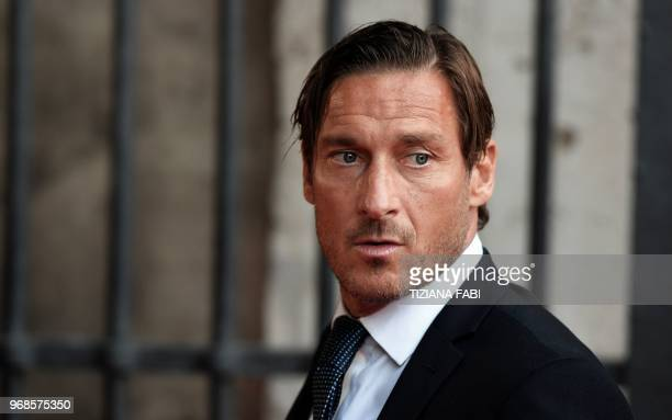 Roma former player Francesco Totti arrives at at the Colosseum in Rome for the charity screening of the award-winning 2000-released blockbuster...