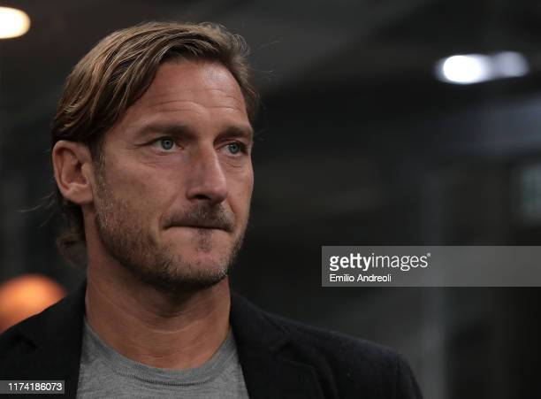 Roma former player Francesco Totti attends the Serie A match between FC Internazionale and Juventus at Stadio Giuseppe Meazza on October 6, 2019 in...