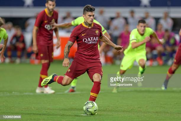 Roma forward Diego Perotti scores on a penalty shot during the International Champions Cup between FC Barcelona and AS Roma on July 31 2018 at ATT...