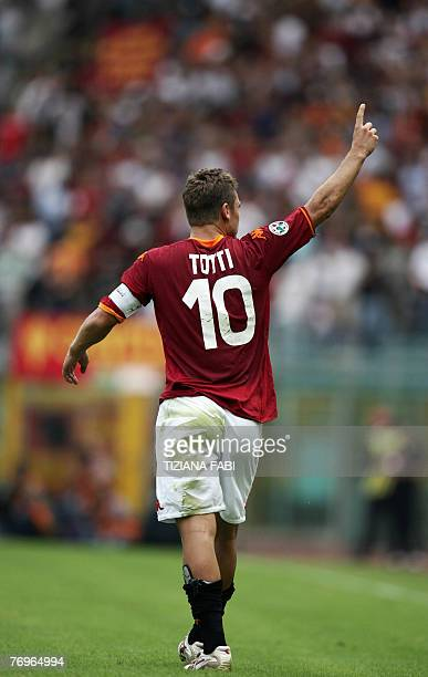 AS Roma forward Francesco Totti reacts after Roma scored against Juventus during their Italian Serie A football match at Olympic stadium in Rome 23...