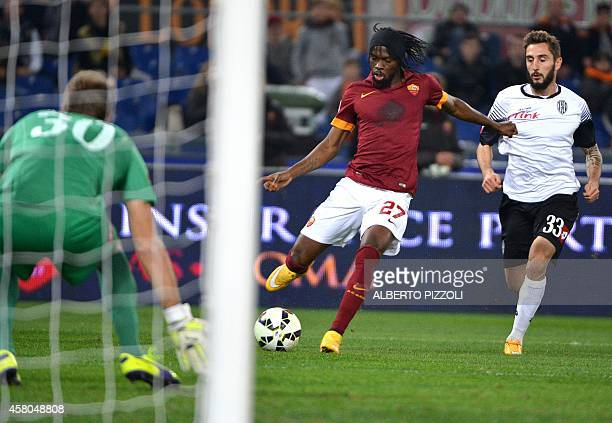 AS Roma forward of Ivory Coast Gervinho kicks the ball during the Italian Serie A football match As Roma vs Cesena on October 29 2014 at the Olympic...