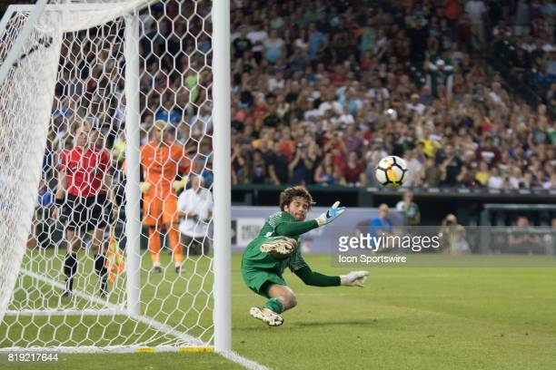 Roma G Alisson lets a penalty kick get by him during the International Champions Cup match between AS Roma and Paris SaintGermain on July 19 2017 at...