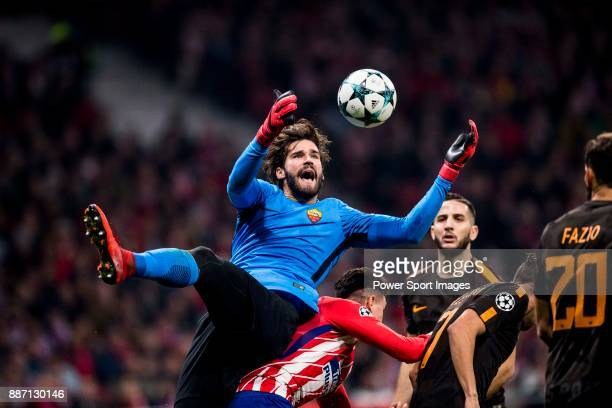 S Roma goal keeper Alisson Becker catching the ball during the UEFA Champions League 201718 match between Atletico de Madrid and AS Roma at Wanda...